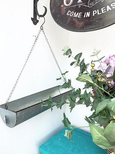 Galvanised hanging planter
