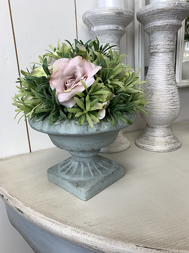 Pale Green urn with artificial flowers