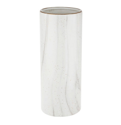 White vase with marble effect and gold flecks