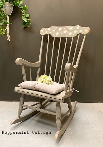 Grey rocking chair with STARS