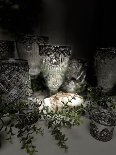 Mercury glass goblet decorative vase - medium