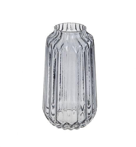 Glass ridged grey vase