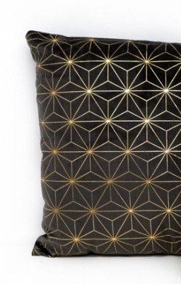 Dark grey velvet cushion with gold pattern