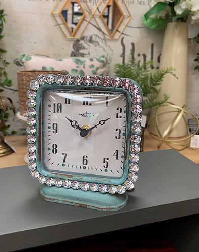 Diamond edged blue square clock