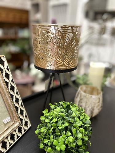 Gold leaf pot on black stand