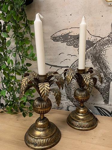 Antique gold palm leaf candlestick