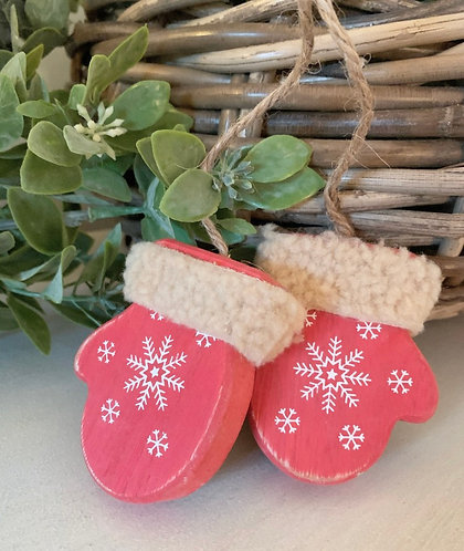 Red wooden mittens Christmas decoration