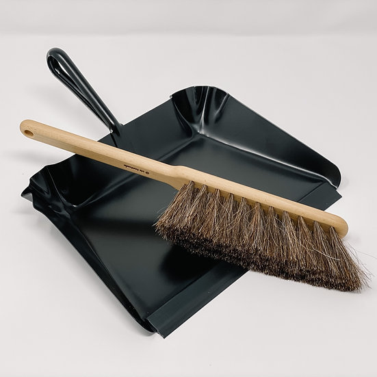 Black Metal Dust Pan with Dust Broom