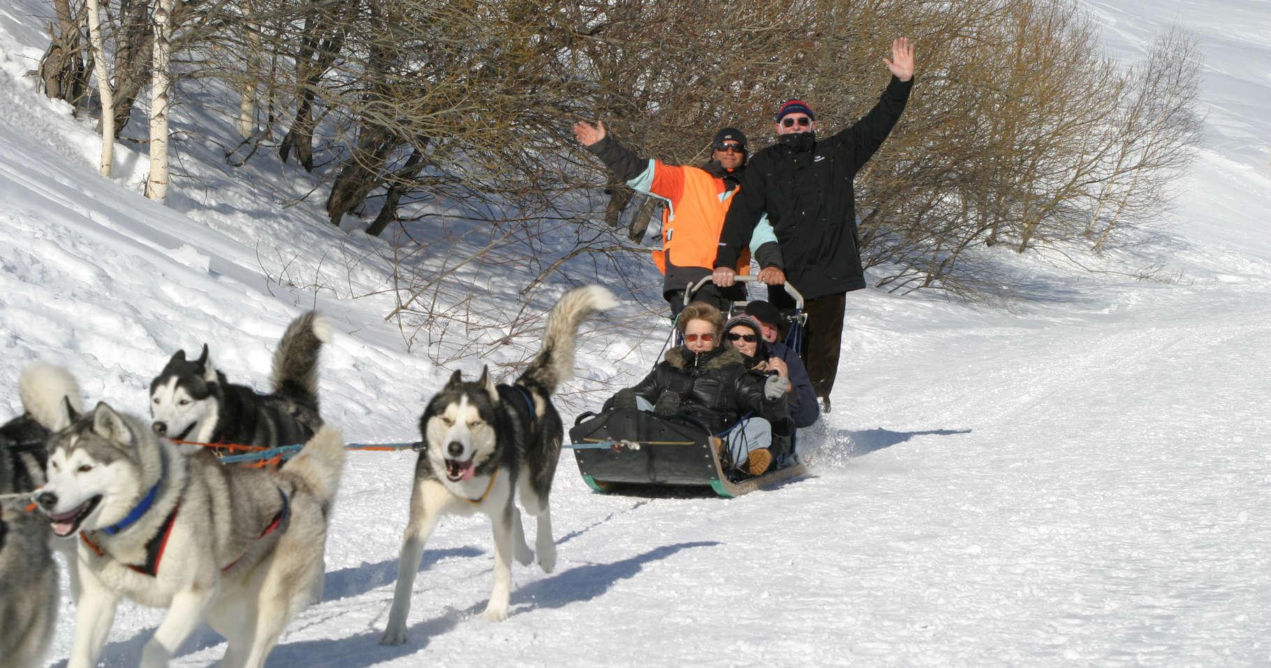 Chalet à louer au Québec   face au lac   4 saisons Le Cocooning L'Ascension   Promenade traineau à chien