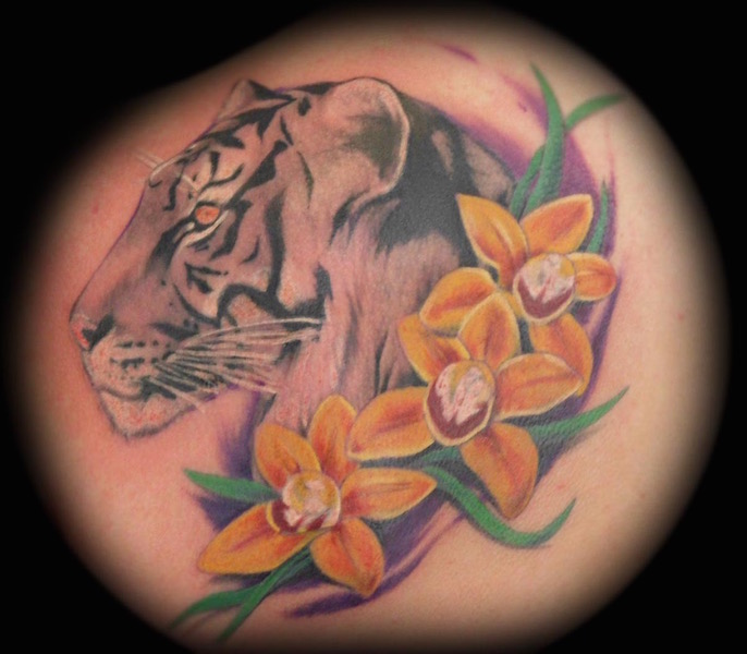 Tiger and Orchids