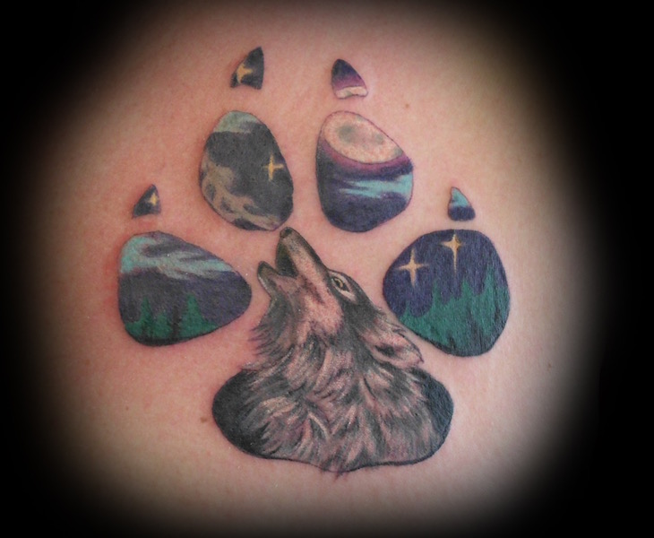 Wolf Paw with Moon and Stars