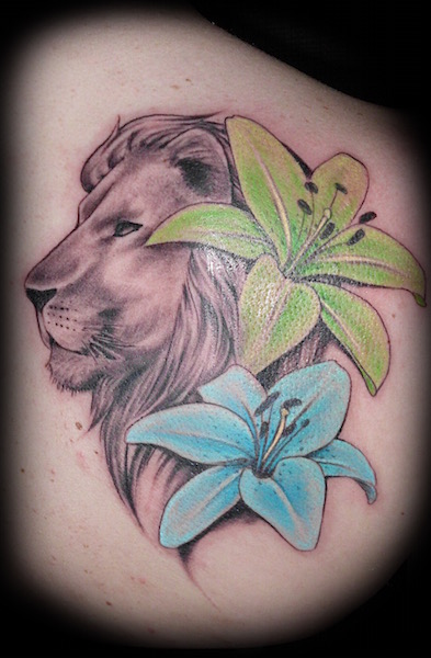 Lion and Lilies