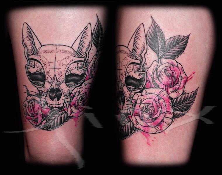 Kitty Skull and Roses