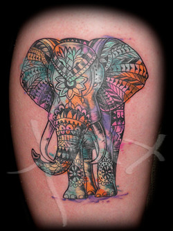 Watercolor Tribal Elephant