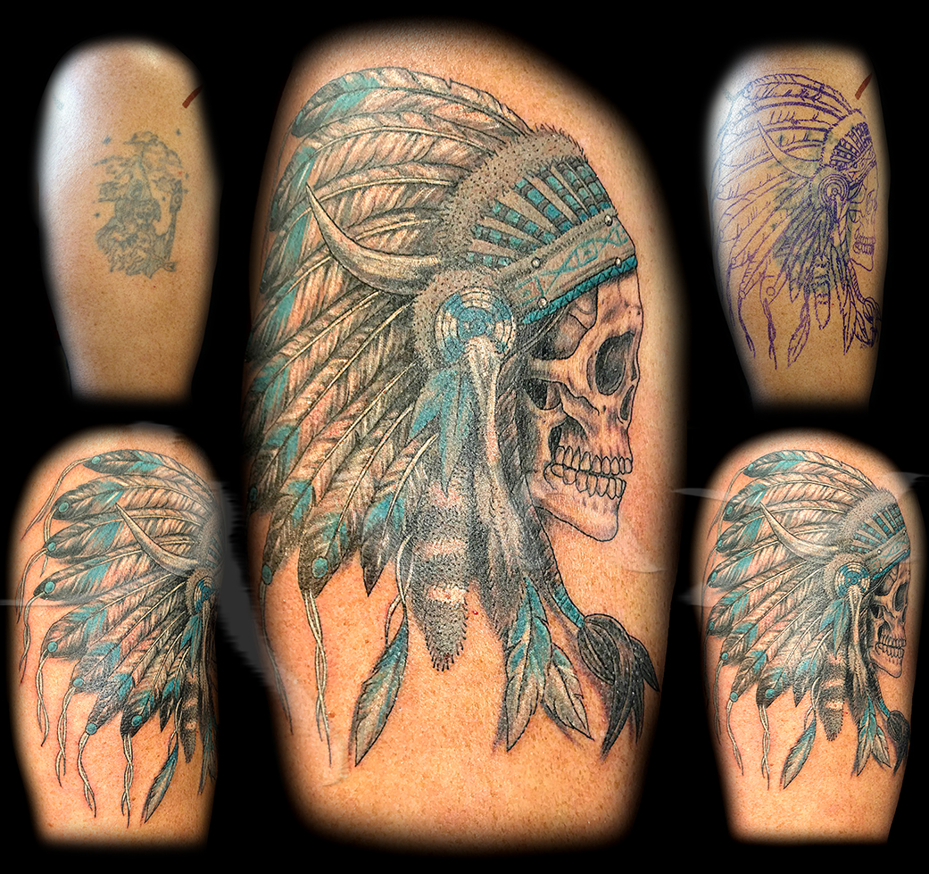 Greg Indian Skull Cover Up