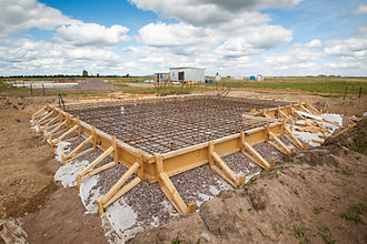 The foundation of the house. Pouring the