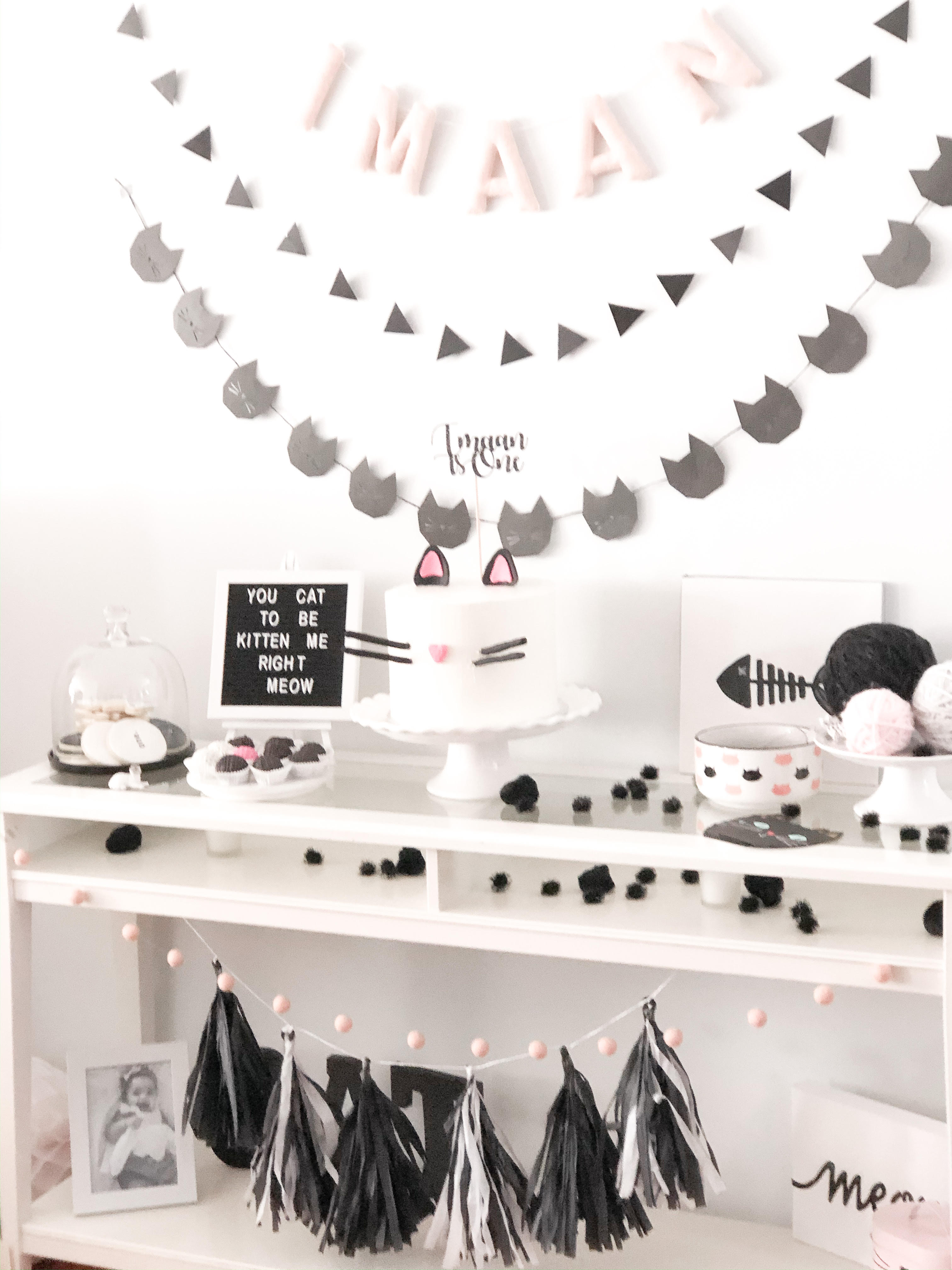 Party Decor! Image by Pink Clove Designs. Name banner and felt ball garland by The Honey Hive.