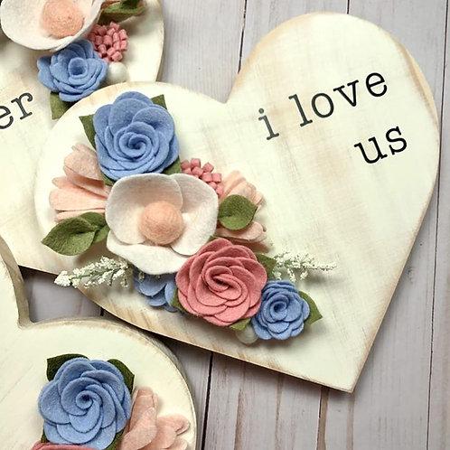 I Love Us Blue - Heart Wall Decor
