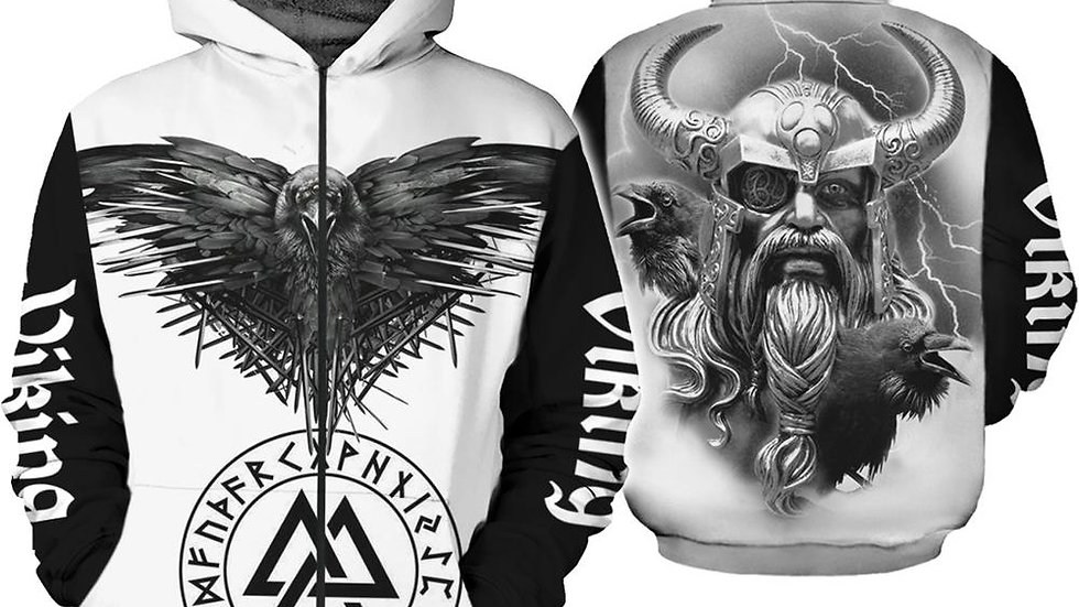 Original Viking Symbol Odin Tattoo 3D Printed Men Hoodie