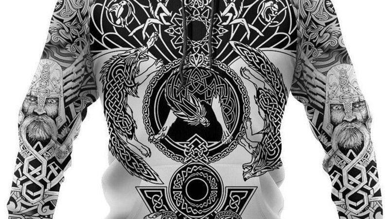 Beautiful Pattern Viking Tattoo 3D Printed Men Hoodies