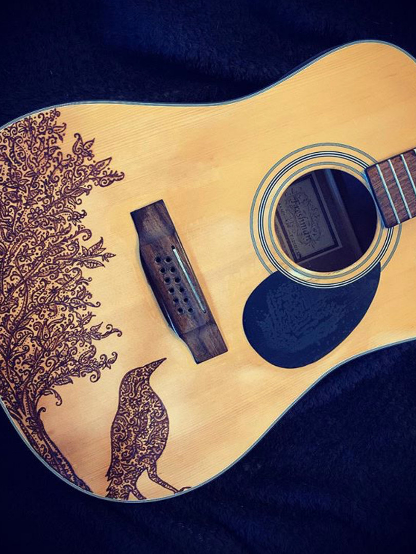 pyrography on guitar