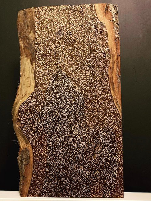 Pyrography Cover on Live Edge Ash