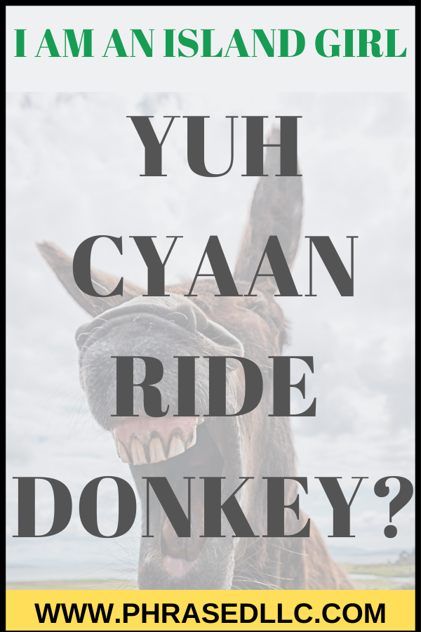 "Be careful what you ask for. In story 8 of the I am an Island Girl series I get my wish to ride the donkey in ""Yuh Cyaan Ride Donkey."""