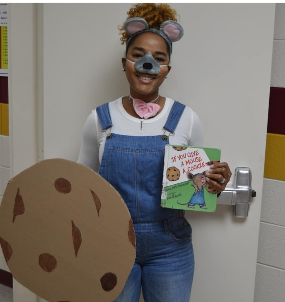 "DIY book character costumes  or storybook character costumes for teachers can be simple. Take this idea for a book character costume of the mouse from ""If You Give a Mouse a Cookie."" Simple and easy story book character costume."