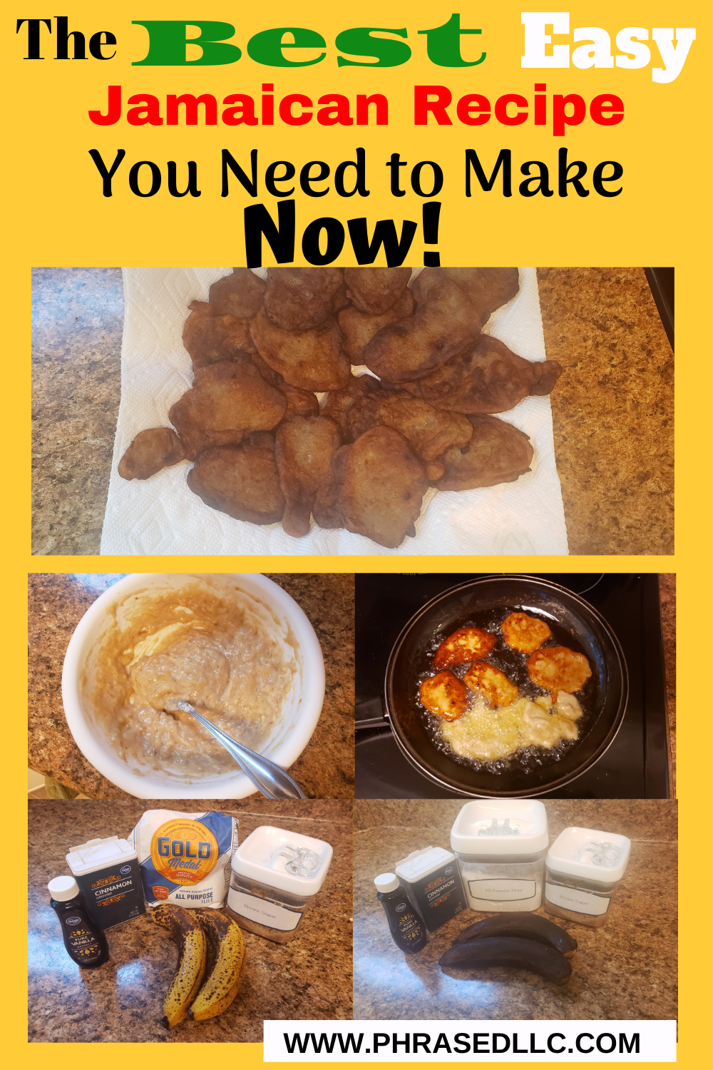 Jamaican banana fritters breakfast that can be made from 5 ingredients you have in your kitchen that is delicious and will help you use over ripe bananas.