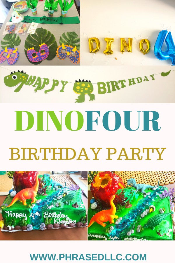 Dinofour birthday party ideas for an amazing dinosaur birthday party from dinosaur invitations, dinofour shirt, dinosaur cake and more.