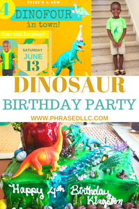 Dinosaur birthday party or dino four party with tips on dinosaur birthday ivitations, dino four tshirt, dinosaur decorations and more.
