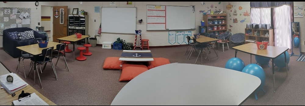 Flexible Seating classroom with a nautical theme.