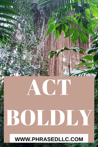 Short inspirational quote: Act Boldy on a botanical garden backdrop of green trees and brown vegetation
