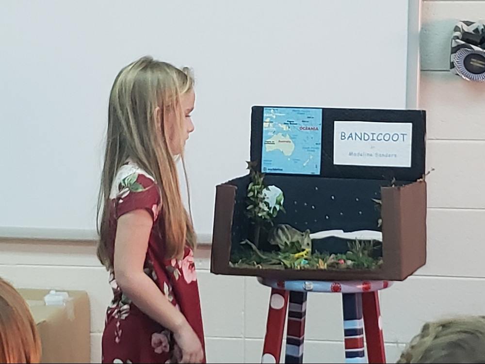 Mighty Madeline Monroe created a Bandicoot habitat and presented it to the class.