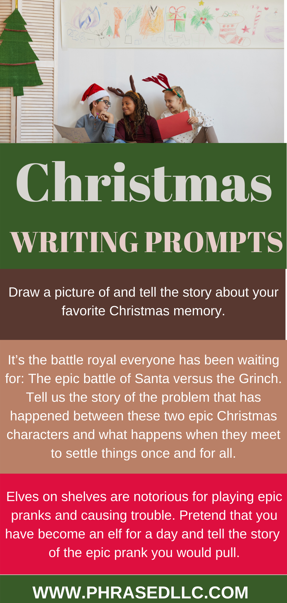 Christmas writing prompts for kids including story starters and unique ideas for kids in kindergarten, first grade and even teens.