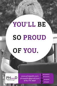 Short inspirational quote reminder that when you accomplish your goals, you will be so proud of yourself.