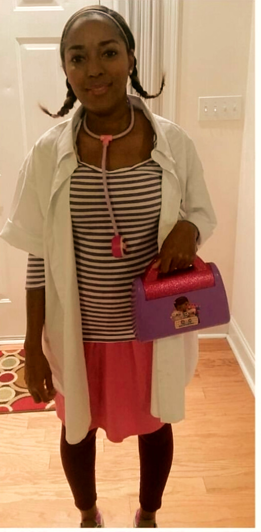 DIY book character costumes or storybook character costumes for teachers:  A Doc McStuffins teacher book character costume is simple to make. Homemade and diy ideas for book character costumes.Storybook character costume for Doc McStuffin.