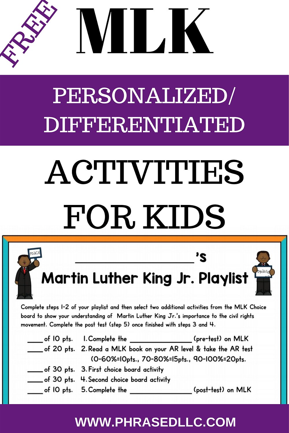 MLK Activities for kids to help them learn about his life, quote and contributions to the world.