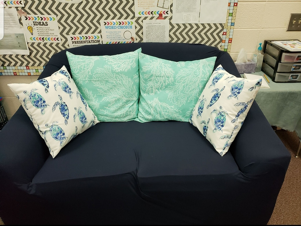 Students can snuggle up and read in this Nautical Flexible seating sofa.