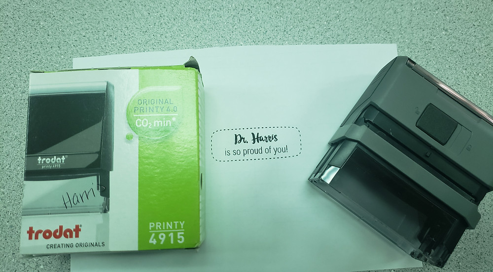 Self inking stamp gift teachers really want with personalized message.