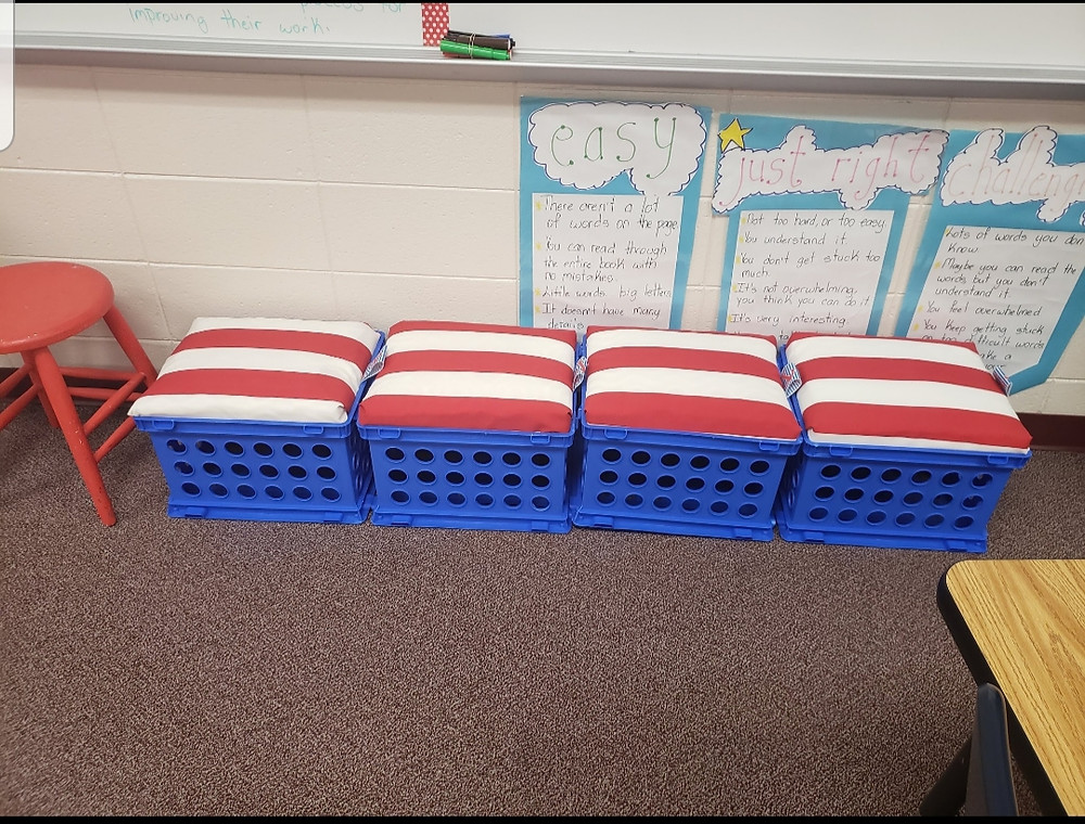 DIY nautical themed crate seats for flexible seating chairs in a flexible seating classroom.