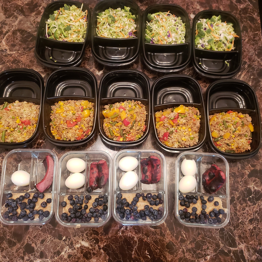 A snapshot of ym weekly meal prep recipe including the ground turkey and cauliflower fried rice.