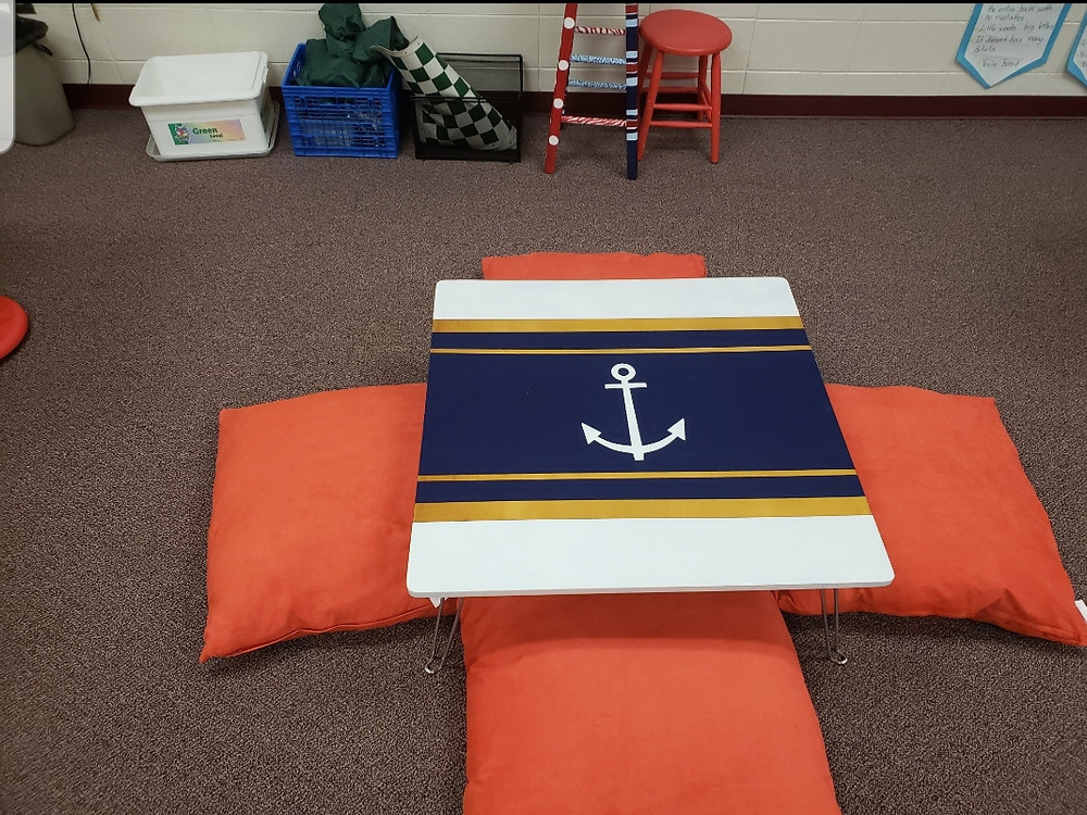 Low table and floor pillow options as a flexible seating chair option in a nautical flexible seating classroom.