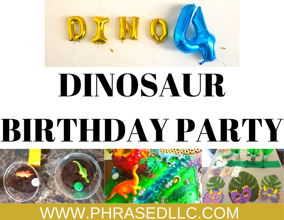 Dinosaur birthday party for the little Dinofour in your life. Includes dinosaur birthday invitations, dino four tshirt, cake and more.