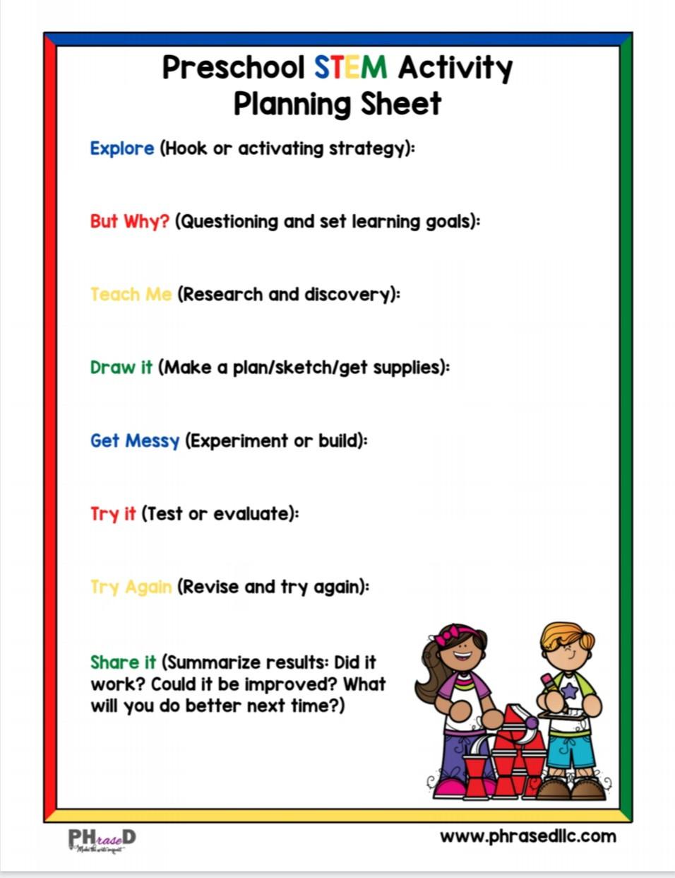 Preschool STEM activity planning sheet to come up with Stem activities for your preschooler.