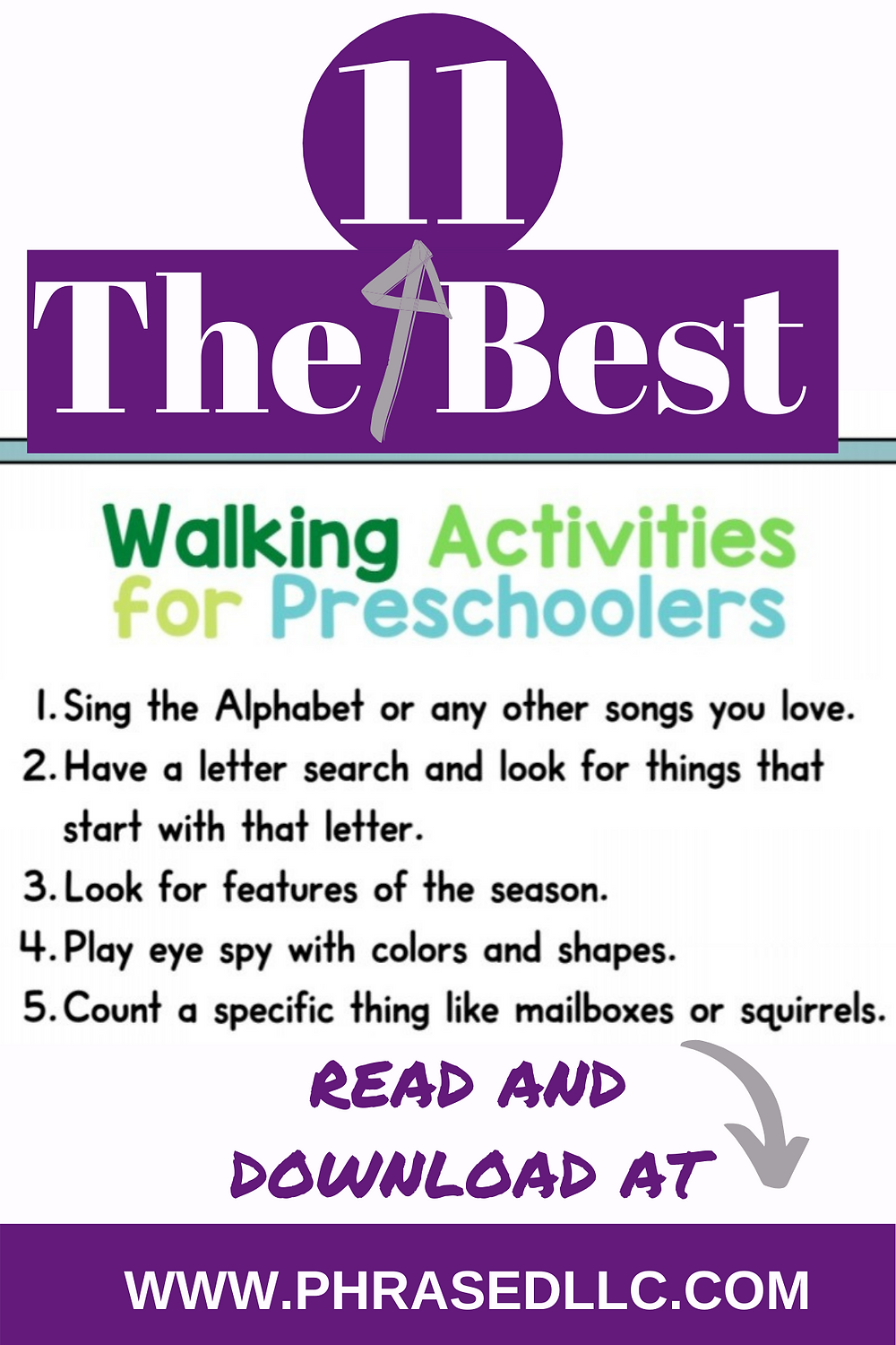 The 11 best walking activities for preschoolers to help them get out in nature and exercise while learning.