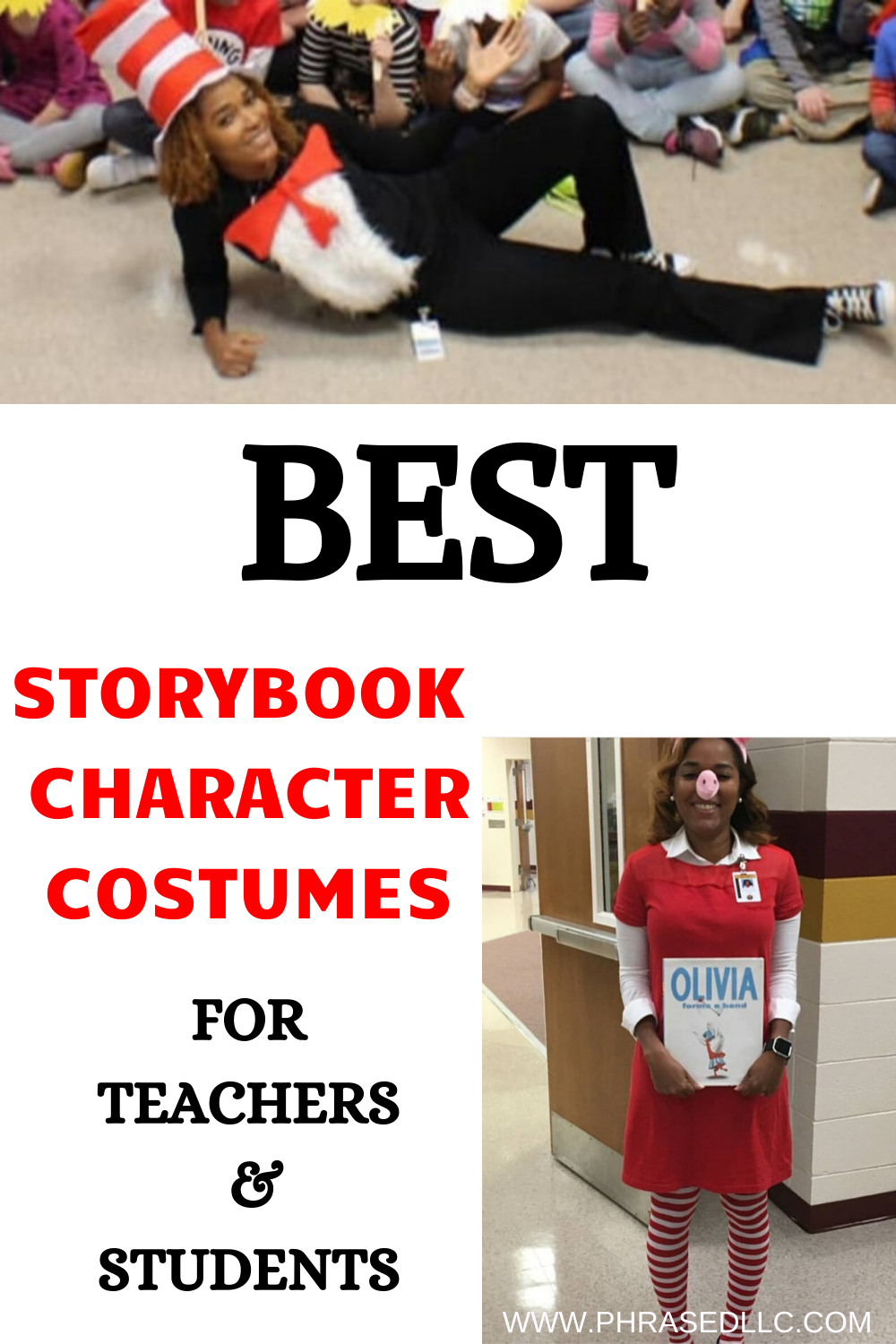 DIY book character costumes for teachers of storybook characters that are popular characters and would make excellent teacher book character costumes for teachers, boys and girls.