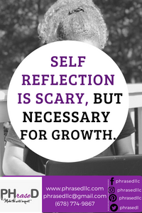 Short inspirational quote on the importance of self reflection to help as you work to grow.