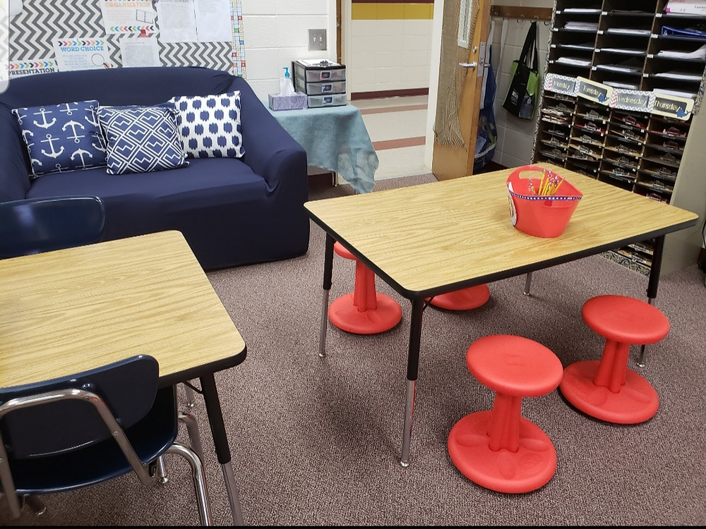 Nautical Flexible Seating classroom with wobble chairs and a sofa flexible seating chair option.