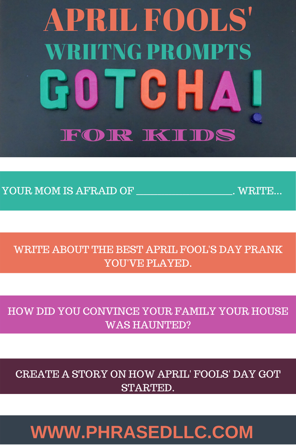 April Fools' Day writing prompts for kids to enjoy writing and celebrate April Fools' day.